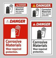 señal de peligro materiales corrosivos desgaste protección requerida vector