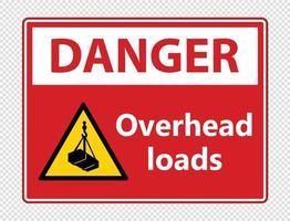 Danger overhead loads Sign on transparent background vector
