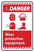 señal de peligro use equipo de protección con símbolos ppe vector