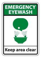 Emergency Eyewash Keep Area Clear Symbol vector