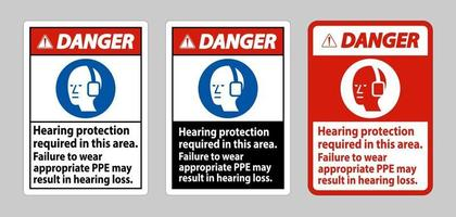 Danger Sign Hearing Protection Required In This Area Failure To Wear Appropriate PPE May Result In Hearing Loss vector