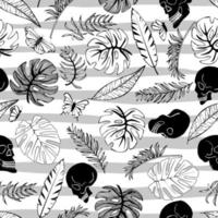 Tropical palm trees, banana leaves and skull on strip background. Abstract background seamless pattern. vector