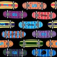 Seamless skateboard pattern. Seamless youth background with skateboard. Prints for t-shirts, textiles, children clothing. vector