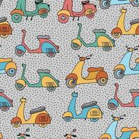 Seamless pattern with motor scooters. Old style motorbike, city motorcycle, trendy electric bike. vector