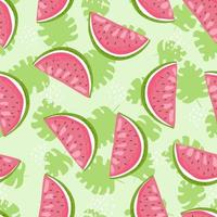 Slices of watermelon and seeds on a green leaves background. Seamless pattern summer theme tropical backdrop fruit and leaves. Perfect for textile manufacturing wallpaper posters. vector