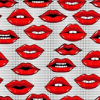 Seamless pattern with red lips in pop art style on abstract background with dots. Beauty repeated backdrop. Girlish wallpaper. Dots and kiss lips. Colorful cartoon style. vector
