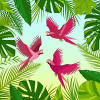 Pink parrots, green palm leaves, jungle leaves composition. Beautiful floral summer tropical vector illustration isolated. Exotic bird print.