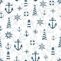 Collection of sea anchor, lighthouse, compass, lifebuoy. Seamless pattern with scuffs. Endless texture. Vacation holiday background. Summer pattern. vector