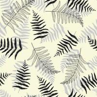 diseño de patrones sin fisuras con hojas y ramas de helecho. Fondo repetido para branding, paquete, tela y textil, papel de regalo. vector