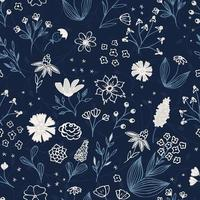 Floral sketch. Seamless hand drawn botanical motifs. Doodle, garden flowers, leaves, branches. Modern vector texture for fashion, fabric, retro print.