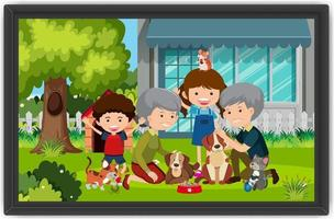Happy family playing with their dogs outdoor scene in a photo frame vector