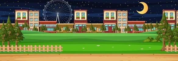 Cityscape horizontal scene at night time vector