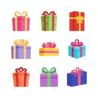 colección de elementos de caja de regalo vector