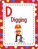 Alphabet flashcard with letter D for Digging vector