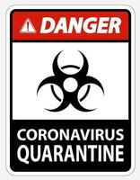 Danger Coronavirus Quarantine Sign vector