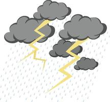 Cloud with rain and thunder on white background vector