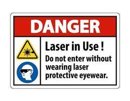 advertencia de peligro ppe etiqueta de seguridad láser en uso no ingrese sin usar gafas protectoras para láser vector