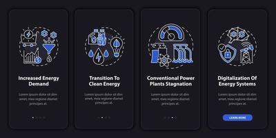 Tendencia energética incorporación de la pantalla de la página de la aplicación móvil con conceptos vector