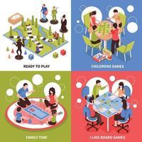Ilustración de vector de concepto de diseño isométrico de juegos de mesa