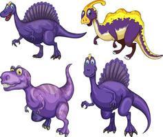 Set of purple dinosaur cartoon character vector