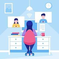 mujer trabajando en teletrabajo en casa vector