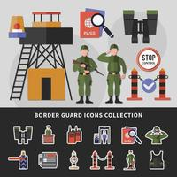 Border Guard Icons Collection Vector Illustration