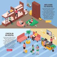 Hostel Rooms Isometric Banners Vector Illustration