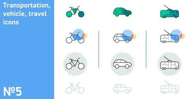 This is a set of bike and trolleybus icons and cars in different styles vector