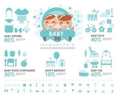 baby info graphic with baby apparel icons baby toys icons baby food icons and baby use icons vector design