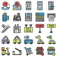 Supermarket and Shopping mall related icon set 7, fiiled style vector
