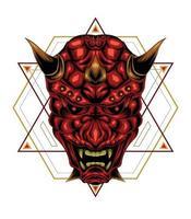 vector de diseño de logotipo de cabeza de oni. mascota de la máscara de samurai