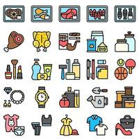 Supermarket and Shopping mall related icon set 3, fiiled style vector
