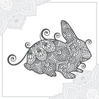 mandala de rinoceronte. elementos decorativos vintage. patrón oriental, ilustración vectorial. vector