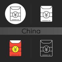 Hong Bao dark theme icon vector