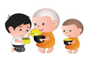 budista da ofrenda de comida a un monje vector