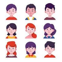 conjunto de avatar de personas vector