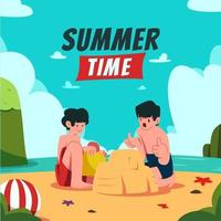 Children Play with Sand on Summer Beach vector