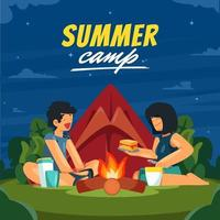 Couple in Summer Camp with Campfire at Night vector