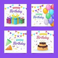 Happy Birthday Greeting Card Collection vector