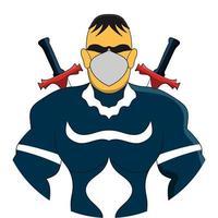 blue mask superhero vector