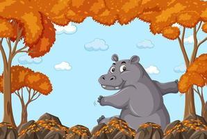 personaje de dibujos animados de hipopótamo en la escena del bosque otoñal en blanco vector