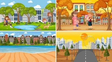 Different background scenes of nature in set vector