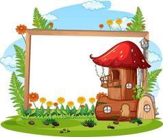 Empty banner with fantasy mushroom house vector