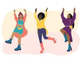 bailan mujeres jóvenes de diferentes nacionalidades. las chicas con ropa de moda se divierten en una fiesta. ilustración vectorial plana de dibujos animados. dia Internacional de la Mujer vector