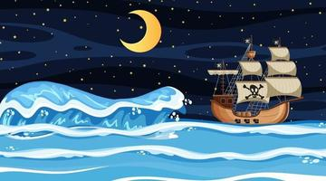 Ocean scene at night with Pirate ship in cartoon style vector