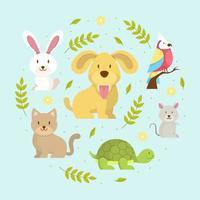 mascotas colección de animales vector