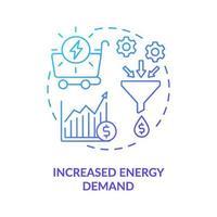 icono de concepto de mayor demanda de energía vector