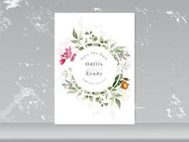 wedding invitation card elegant floral vector