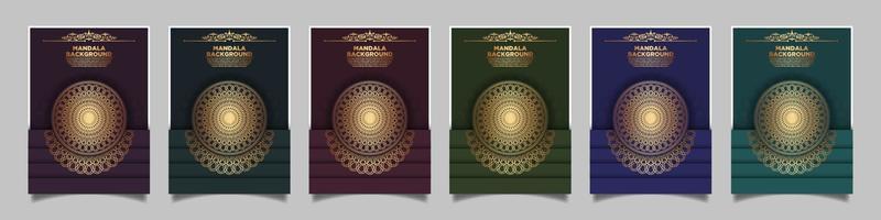 conjunto de plantillas vectoriales modernas para folletos, portadas de revistas, catálogos publicitarios o informes anuales. diseño dorado en vertical. vector