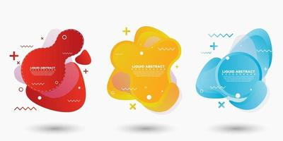 Set of abstract modern graphic elements. Shapes and lines and dynamic colored gradations. Gradient abstract banner with flowing fluid shapes. Templates for logo design or presentations. Vector Design